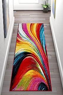 Well Woven Aurora Multi Color Geometric Brush Stroke Area Rug 2x7 (2'3