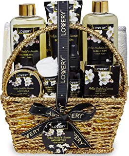 Bath and Body Gift Basket for Women and Men – Orchid and Jasmine Home Spa Set With Body Scrubs, Lotions, Oils, Gels and Mo...