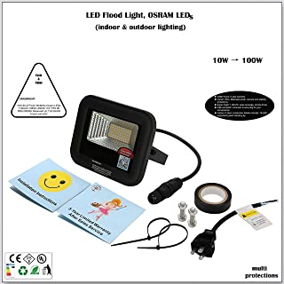 10W LED Flood Light, Work Light, Wall Light, Wall pack, Osram LED, 107lm/W 1167lm, 4500K, Meanwell Power, IP66, UL, 5-Year Warranty, Stability & Security Protections, US Plug, Indoor, Outdoor, Garden