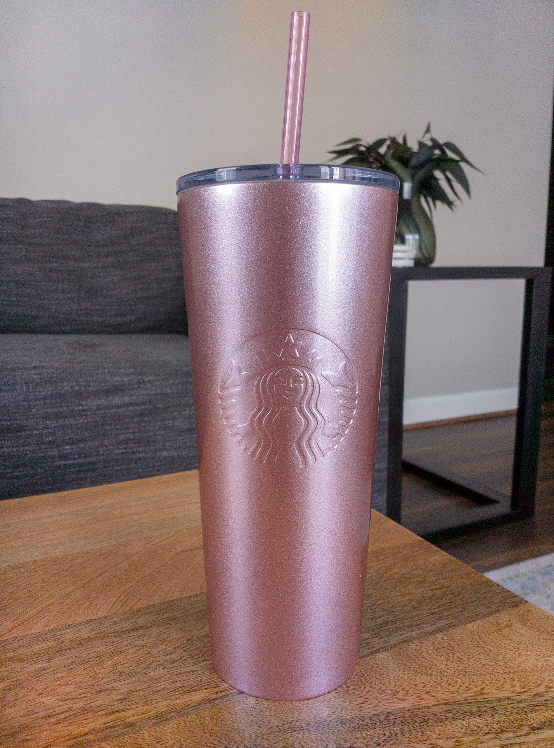 Starbucks Tumbler Thermobecher Edelstahl Ombre rot-pink mit Schriftzug 16oz NEU
