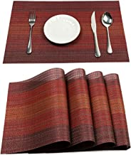PAUWER Placemats Set of 6 Heat Insulation Stain Resistant Placemat for Dining Table Durable Crossweave Woven Vinyl Kitchen...