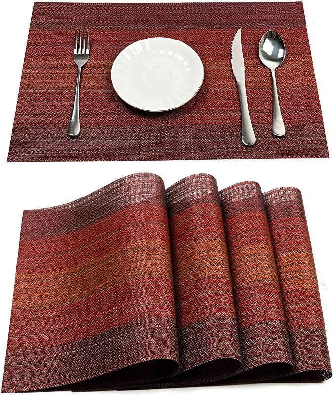 Pauwer Placemats Set Of 6 For Dining Table Washable Woven Vinyl Placemat Non Slip Heat Resistant Kitchen Table Mats Easy To Clean Set Of 6 Red