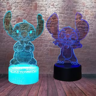Fanrui 2pcs Stitch Cute Cartoon - Lilo and Stitch - Teddy Stitch - 7 Colors Change LED Smart USB TouchTwins Baby Brothers Sisters Child Toys Bedroom Decor Good Friends Boys Girls Birthday Xmas Gifts