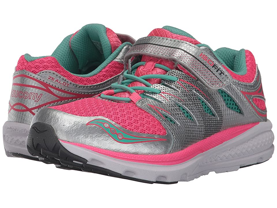 Saucony Kids Zealot 2 A/C (Little Kid) (Silver/Coral) Girls Shoes