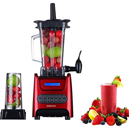 Amazon Com Ovente Kitchen Countertop Blender With Dispenser Stainless Steel Blade 13 5 Ounce Bpa Free Portable Easy Clean Jar 1000 Watt Base Powered Electric Mixer For Smoothie Protein Shakes Red Blh1000r Kitchen