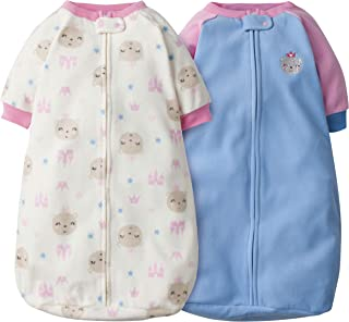 GERBER Baby Girls 2-Pack Sleep Bag, Blue Princess Bear, 0-6 Months