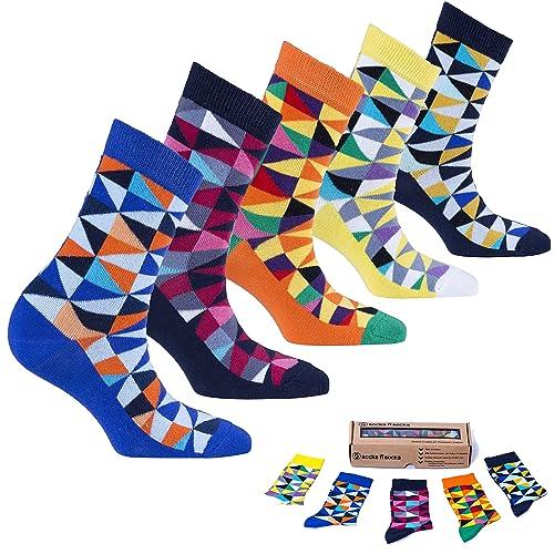 Socks n Socks-Womens 5 Pairs Colorful Luxury Cotton Funky Crew Socks