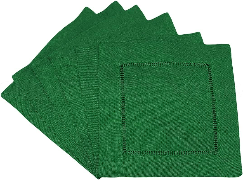 12 Pack CleverDelights Green Hemstitch Cocktail Napkins 6 X 6 45 55 Cotton Linen Blend