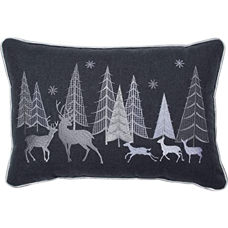 Amazon Com Pillow Perfect Christmas Forest Scene Decorative Lumbar Pillow 12 X 18 Gray White Home Kitchen