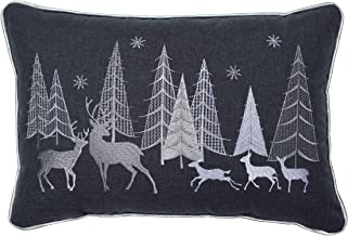Pillow Perfect Christmas Forest Scene Embroidered with Silver Welt Cord Lumbar Decorative Pillow, 12 x 18, Gray, White