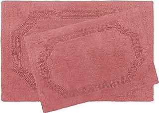 Laura Ashley Reversible Cotton 2-Piece Bath Mat Set, Coral