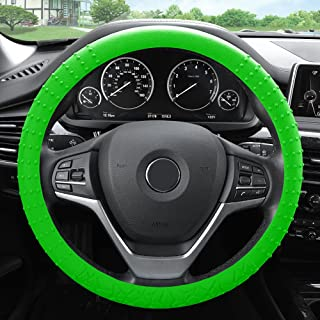 FH Group FH3002GREEN Green Steering Wheel Cover (Silicone W. Nibs & Pattern Massaging grip Wheel Cover Color-Fit Most Car Truck Suv or Van)
