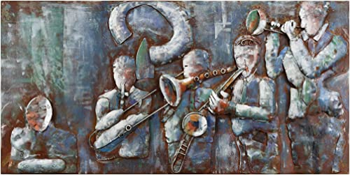 "Empire Art Direct Jazz Band Mixed Media Iron Hand Painted Dimensional Wall Art, 56"" x 28"" x 2.4"", Ready to Hang"
