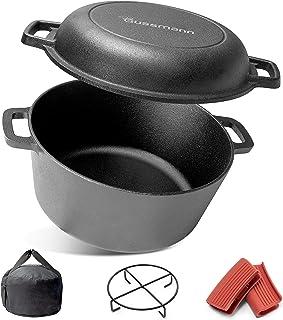 Marmite en fonte 2 en 1 - Cocotte en fonte - 26 cm - Pour cuisiner, cuire du pain, rôtir et rôtir - Avec soucoupe, 2 prote...