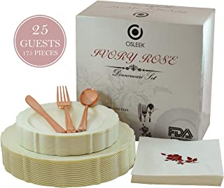 Disposable Plastic Dinnerware Set - 175 Piece / 25 Guest Ivory Plates, Rose Gold Cutlery, Elegant Heavy Duty Silverware – 25 Dinner Plates, 25 Dessert Plates, 25 Forks|Knives|Spoons|50 Design Napkins