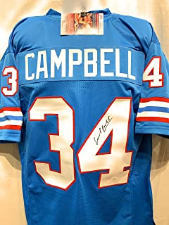 Earl Campbell Houston Oilers Signed Autograph Blue Custom Jersey JSA Witnessed Certified