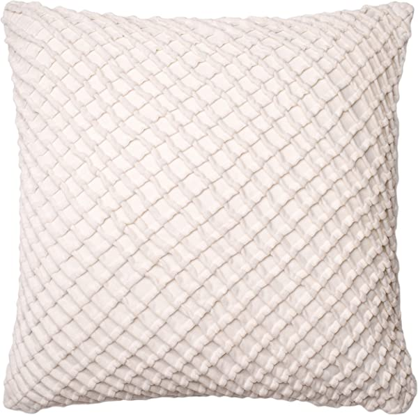 Loloi Loloi DSETP0125WH00PIL3 White Decorative Accent Pillow 100 Cotton Velvet Cover With Down Fill 22 X 22 22 X 22 White