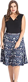 Chicwe Women's Plus Size Floral Print Skater Dress 1X-4X