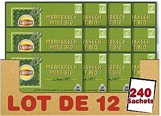 Lipton Sir Thomas Thé Vert Biologique Marrakech Mint, Label Rainforest Alliance 240 Sachets (Lot de 20x12 Sachets)