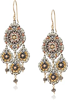 Miguel Ases Women's Gold Fill Ball Swarovski Chandelier Triple Drop Earrings