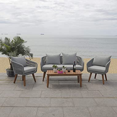 Safavieh PAT7073C Outdoor Prester Rope 4-Piece Seat Cushions and Pillows Included Patio Set, Grey/Grey