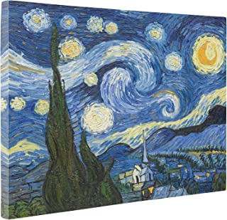 Niwo Art - The Starry Night, by Vincent Van Gogh - Oil Painting Reproductions - Giclee Canvas Prints Wall Art for Home Decor, Stretched and Framed Ready to Hang (20 x 24 x 1.5 Inch)