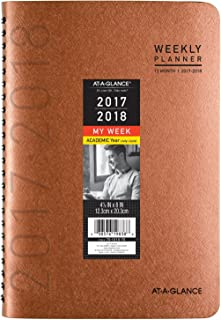 """AT-A-GLANCE Academic Weekly / Monthly Planner, July 2017 - June 2018, 4-7/8"""" x 8"""", Contemporary, Copper (70101X70)"""