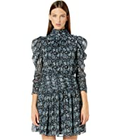 Long Sleeve Dress w/ Ruched Waistband and Shoulder Sleeve Detail