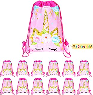 Unicorn Party Bags - Drawstring Party Favor Bags for Kids Birthday Fantasy - 12 Pack Pink