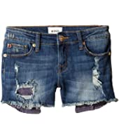 Hudson Kids - Five-Pocket Shorts with Exposed Embroidered Pocket in Dark Stone Used (Big Kids)