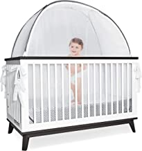 Grey Baby Canopy Cover -Safety Pop Up Tent – See Through Crib and Nursery Soft Mesh Cover, Net with New Viewing Window - Zippered Safety Top for Mosquito Bites and Falling Protection for Infants