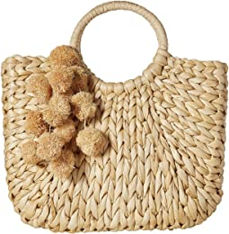 Small Round Handle Tote with Poms