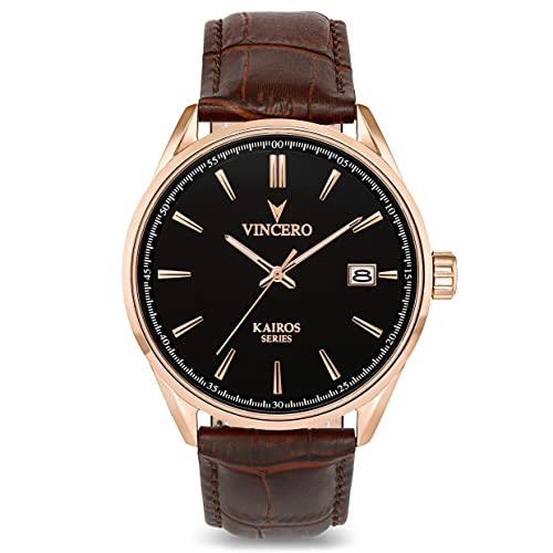 Vincero Luxury Mens Kairos Wrist Watch - Top Grain Italian Leather Watch Band - 42mm Analog