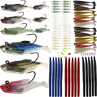Fishing Lures Kit Soft Baits Tackle Soft Plastic Worms Shrimp Spring Twist Lock Fishing Beads Saltwater Freshwater Lures Bass,Trout,Salmon