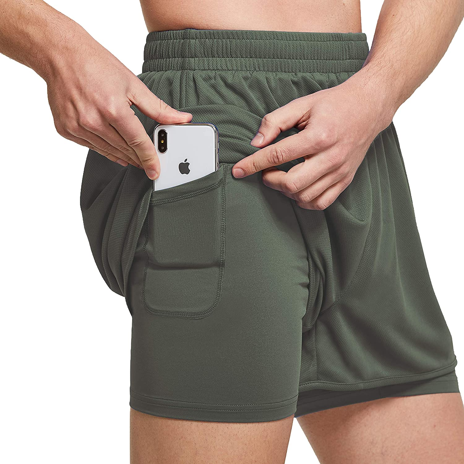 Ogeenier Mens Mesh 2 in 1 Running Workout Shorts with Compression Liner Dry Fit Athletic Gym Shorts with Pockets