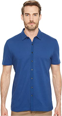 Short Sleeve Stretch Solid Jacquard Shirt