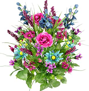 Artificial Dahlia, Morning Glory and Ranunculus and Blossom Fillers Mixed Bush - 30 Stems for Home, Wedding, Restaurant and Office Decoration Arrangement, Turquoise/Lilac/Celery