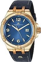 Maurice Lacroix Men's Aikon Swiss-Quartz Watch with Leather Strap, Blue, 23 (Model: AI1028-BRZ01-420-1)