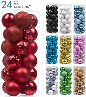 Valery Madelyn 24ct 60mm Essential Red Basic Ball Shatterproof Christmas Ball Ornaments Decoration,Themed with Tree Skirt(Not Included)