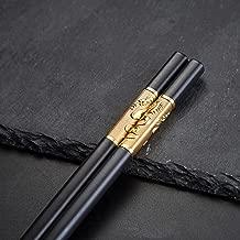 YOUDA 5-Pairs Fiberglass Dishwasher-Safe Chopsticks, Premium Chinese Dragon Chopsticks Set, Reusable Classic Style