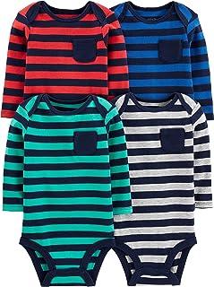 Simple Joys by Carter's 4-Pack Soft Thermal Long Sleeve Bodysuits Bebé-Niños, Pack de 4