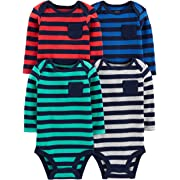 Simple Joys by Carter's Boys' 4-Pack Soft Thermal Long Sleeve Bodysuits, Stripes, Newborn