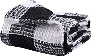 All Season Cotton Thermal Blanket in Buffalo Check Waffle Weave -Perfect for Layering Any Bed, Black/White- 60x90,Light Thermal Blankets,Twin Thermal Blankets,Breathable Blanket,Twin Thermal Blankets