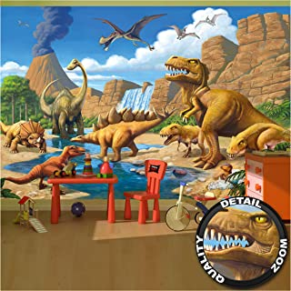 Kid's Room Nursery Large Photo Wallpaper – Dinosaur Adventure – Picture Decoration Dino World Comic Style Volcano Waterfall Image Decor Wall Mural (132.3x93.7in - 336x238cm)