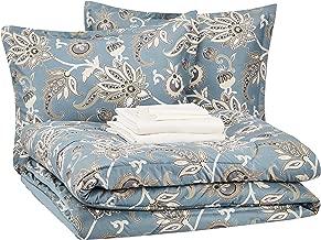 AmazonBasics Bed-in-a-Bag - Soft, Easy-Wash Microfiber - 8-Piece Full/Queen, Sea Foam Jacobean