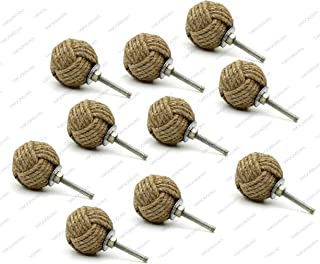 5MoonSun5's Jute Rope Door Knobs/Rope Knot Drawer Pulls and Knobs/Pull and Push Handle Knobs for Cabinets, Wardrobes & Cupboards/Nautical Hardware Decor, 35 mm (Pack of 10)