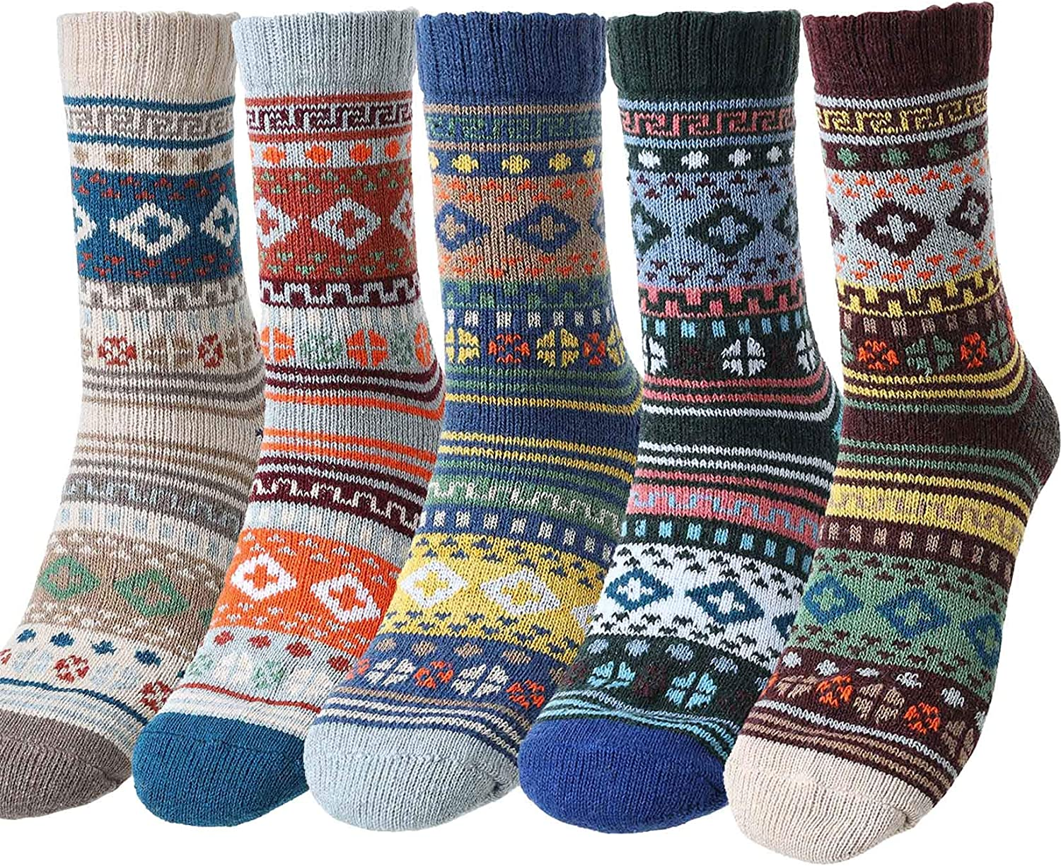 Campsis 5 Pack Vintage Warm Socks Nordic Thick Knitting Crew Socks Soft Cotton Casual Winter Socks Christmas Gifts for Men and Women