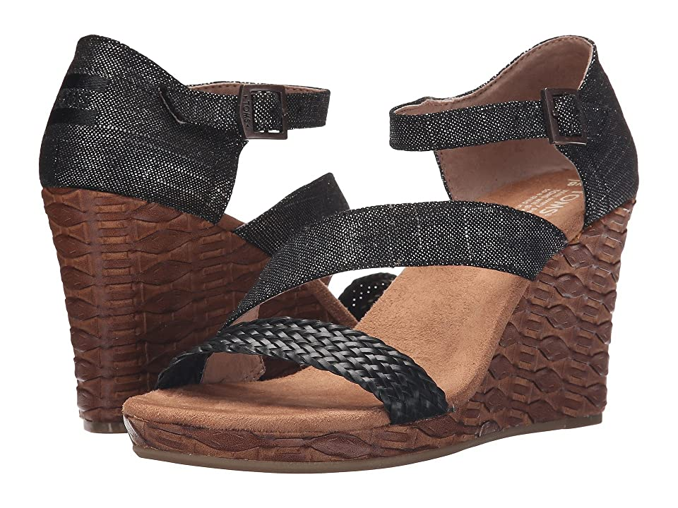 TOMS Clarissa Wedge (Black Metallic Linen/Embossed) Women