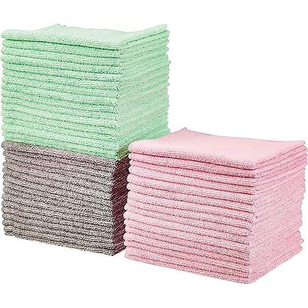 Amazonベーシック クリーニングクロス マイクロファイバー製 グリーン, グレー, ピンク 48枚