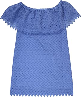 Womens Off-The-Shoulder Eyelet Party Dress Blue S